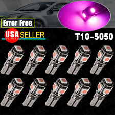 10x T10 LED Canbus Error Free 5 SMD Wedge light Bulbs Purple Pink 168 194 W5W