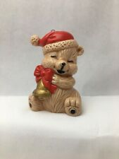 Vintage Porcelain Smiley Teddy Bear With Red Bow Gold Bell Christmas Ornament