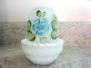 Mosser Glass  White Carnival Fairy Lamp, Painted Blue & Green Floral