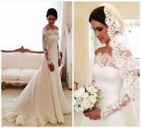 Elegant Portrait Mermaid Lace Long Sleeve Wedding Dress Bridal Ball Gown US 4-16