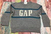 Baby Gap Boys 2 / 2T Sweater. Gray & Teal Blue Gap Logo Sweater. Nwt