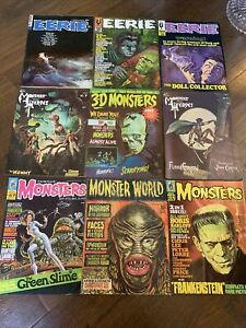 9x Monster Horror Magazines Famous Monsters Monster World Eerie VG/F #10