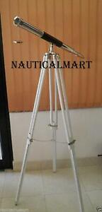 Vintage 39 Inch Brass Telescope Black Leather Full Size On a Wooden Tripod Stand