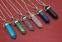 Crystal Point Necklace Sterling Silver Chain Chakra Pendant