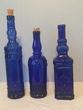 Set of 3 Cobalt Blue Decor Vintage Tall Empty Bottles GORGEOUS