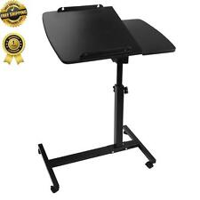 New LAPTOP DESK Height Adjustable Black Rotating Mobile Lockable Caster Wheels
