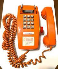 VINTAGE 1979 ITT ORANGE TOUCH TONE WALL PHONE