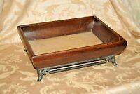 "Vintage 18"" Long Wood Framed Table Top Serving Tray w/ Wicker Base & Metal Feet"