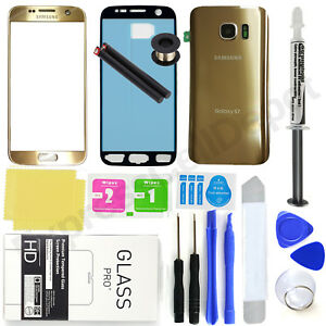 For Samsung Galaxy S7 G930 -OEM Gold-Front Screen Glass Back Replacement Pro Kit