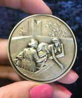 Decameron Giovanni Boccaccio Nude Lady Sterling Silver Italian medal 2
