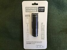 Accellorize Portable Charger  Battery 2200mAh Black/Red MIcro USB Free Shipping