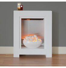 ELECTRIC FIRE WHITE BOWL SMALL FIREPLACE MODERN  SILVER FLAT WALL FIX FREESTAND
