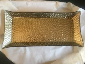 Yankee Candle Dimple Gold Scaping Glass Plate Jar Pillar Candle Tray 1527475