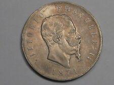 1874 M Bn Silber 5 Lire Von Italien. #12