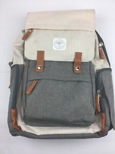 Huggleboo Baby On-The-Go Diaper Bag Backpack with Wipes Pocket Beige/Taupe READ