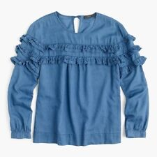 J Crew Tiered Top In Chambray Ruffled Blouse Size 6 New G8757 Sold Out!