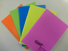 A5 NOTEBOOK, BRIGHTLY COLOURED, FEINT RULED AND MARGIN