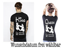 King Queen T Shirt 2 Stück Partner Look Relationship Pärchen Couple XS bis XXXXL
