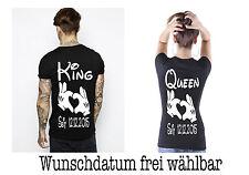 King Queen T Shirt 2 Stück Partner Look Relationship Pärchen Couple XS bis XXXXL