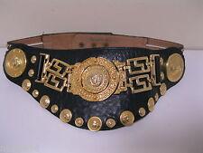 Vtg. STREETS AHEAD Leather & Metal Lion Head medallion  ADJUSTABLE belt