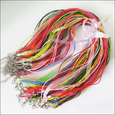 10Roll Mixed Organza Voile Ribbon Necklace Waxed Lobster Clasp Cords 45cm+5cm
