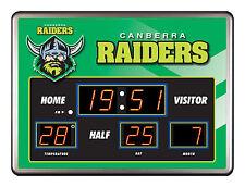 CANBERRA RAIDERS NRL SCOREBOARD LED Glass Wall Clock Date Time Temp Man Cave