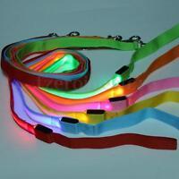 New LED Flashing Light Pet Dog Rope Harness Belt Safety Glow Nylon Leash Lead