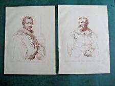Engravings x 2 After Antonio Van Dyck  C1879