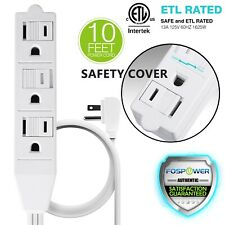 3 Outlet Wall Tap Power Strip Adapter Flat Plug Safety Cover Extension Cord 10FT
