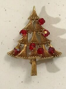 VINTAGE CHRISTMAS TREE LAPEL PIN BROOCH RED DANGLING BEADS MYLU SIGNED GOLD TONE
