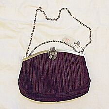 *60S STYLE PER UNA EVENING OR DAY BAG TWISTED HANDLE & CHAIN HANDLE BROWN CORDED