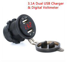 12V Red LED Car 3.1A Dual USB Phone Charger Socket & Digital Voltage Voltmeter