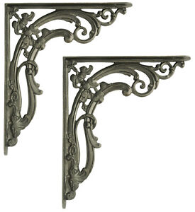 "Pair Large Cast Iron Scroll Leaf Wall Antique Period Shelf Brackets (30cm / 12"")"