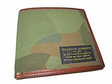 Polo Ralph Lauren Green Camo Camouflage Canvas Army Leather Bifold Wallet