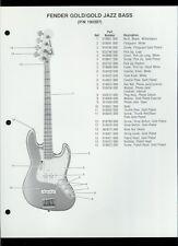 Orig Factory Fender Gold/Gold Jazz Bass Guitar Dealer Sheet(s) Parts List