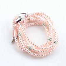 Women Jewelry Pearl Necklace Earphones Mic Beads 3.5mm In-ear Headset Headphone