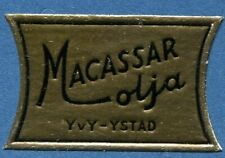Advertisement Original Seal Label A43 Gold MNH Macassar Oil YvY Ystad Sweden