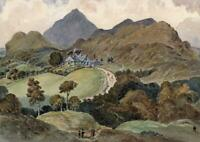 LANDSCAPE IVY COTTAGE CONISTON LAKE DISTRICT Watercolour Painting 19TH CENTURY