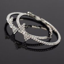 Rhinestone Crystal Big Large Silver Round Hoop Circle Bow Drop Pierced Earrings