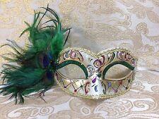 Green & Gold Special Design Peacock Feather Venetian Mardi Gras Masquerade Mask