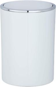 "Wenko"" Inca Swing Cover Bin, ABS, White/Chrome, 18.5 x 18.5 x 25.5 cm"