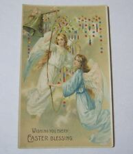 Hold to Light Antique Wishing You Every Easter Blessing Postcard w/ Angels T*