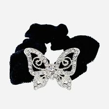USA Butterfly Ponytail holder Elastic Rhinestone Crystal Hair Tie Rope Silver 20