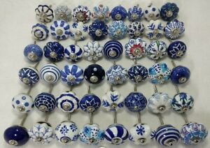 Ceramic Drawers Knobs Door Cupboard Blue and Whit Mix Knob Set of 20