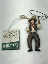 Vintage Cowboy with Lasso Lariot Randy Tate Christmas Ornament Midwest Falls tag