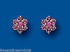 Ruby Earrings Ruby Cluster Earrings Yellow Gold Ruby Stud Earrings