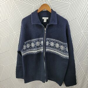 Vintage Cherokee Cardigan Sweater size Large Wool Zip up Nordic Fair Isle blue