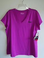 NWT Fila Sport Women's 1X Short Sleeve V-Neck Shirt PURPLE Tee T-Shirt   #240816