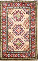 Geometric Ivory/ Red Super Kazak Oriental Area Rug Wool Hand-Knotted 2x3 Carpet