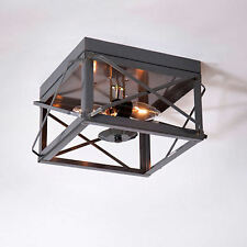 Irvin Country Tinware Double Ceiling Light Folded Bars Country Tin NEW FREE SHIP